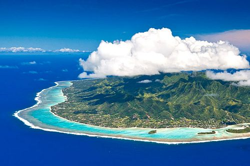 Aerial of Rarotongo Island - Toursim Cooks- Cook Islands Vacation - Cook Islands Travel
