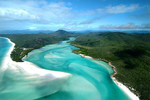 Aerial View of Hill Inlet at Whitehaven Beach