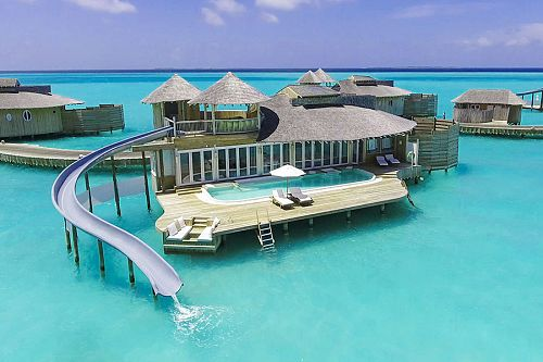 Soneva Jani Beach Resort, Maldives - Overwater Bungalow with Slide