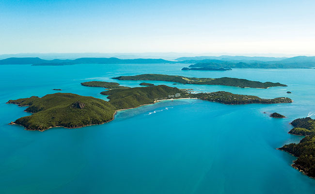 Aerial view of Hamilton Island, Whitsundays, Australia