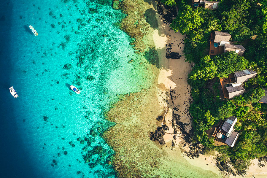 Aerial Beach View of Royal Davui Resort Fiji