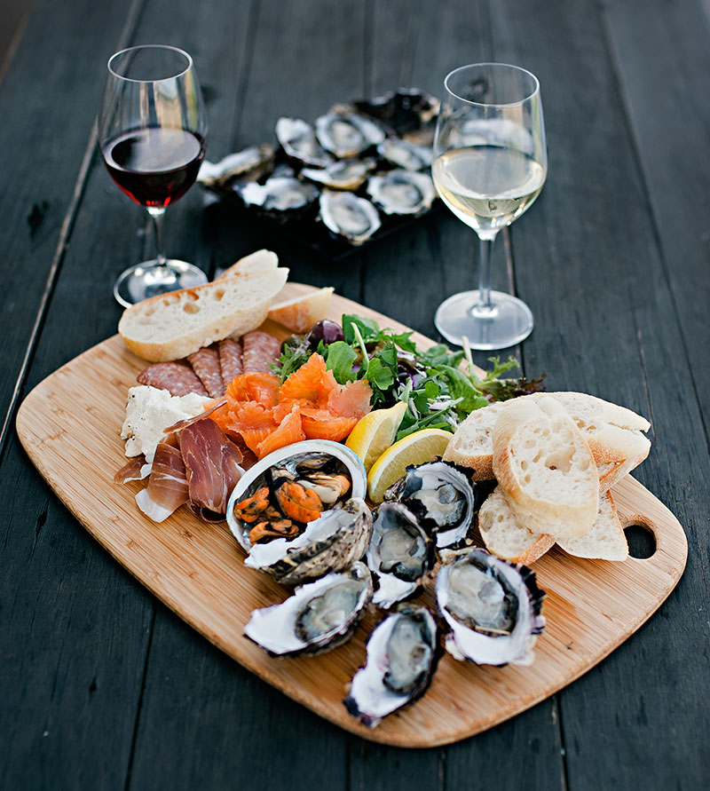 Fresh Seafood and Wine Spread at Devils Corner Winery, Tasmania