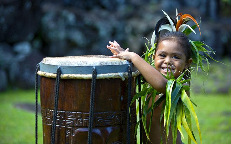 Local Child in Traditional Clothing on Hiva Oa Island