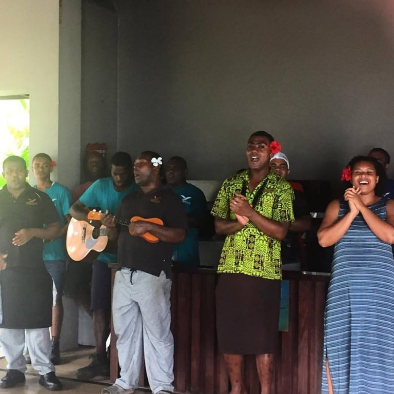 Staff Singing a Greeting at Yasawa Island Fiji