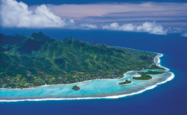 Aerial Image of sunny Rarotonga Island - Tourism Cooks - Travel South Pacific Beaches