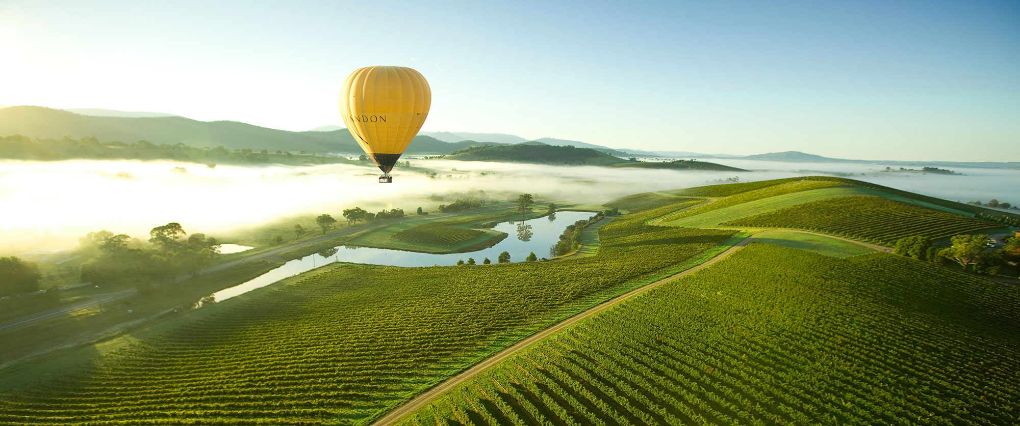 Hot air balloon over Yarra Valley, Victoria, Australia