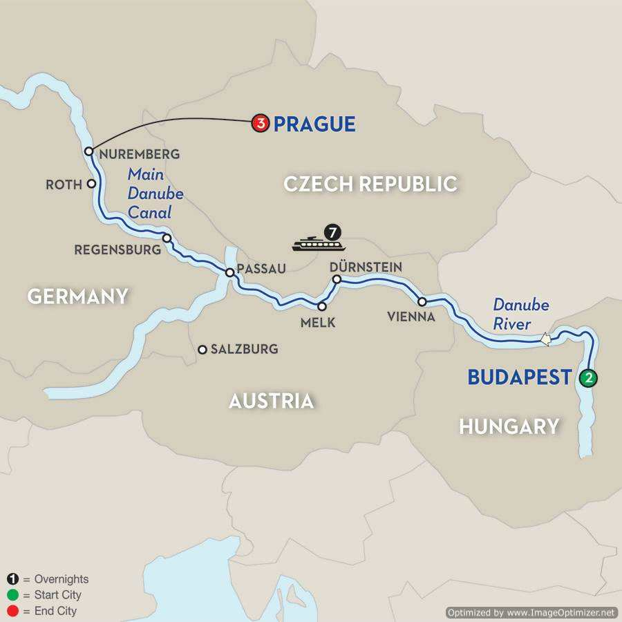 Danube River Map Of Europe.Exclusive European Danube River Golf Cruise 2018 Down Under Endeavours