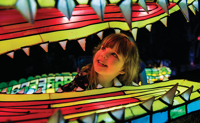 Girl enjoying the light exhibits at Taronga Zoo, Vivid Sydney 2017