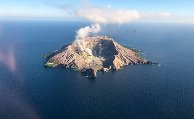 Aerial view of White Island volcano near Rotorua, New Zealand