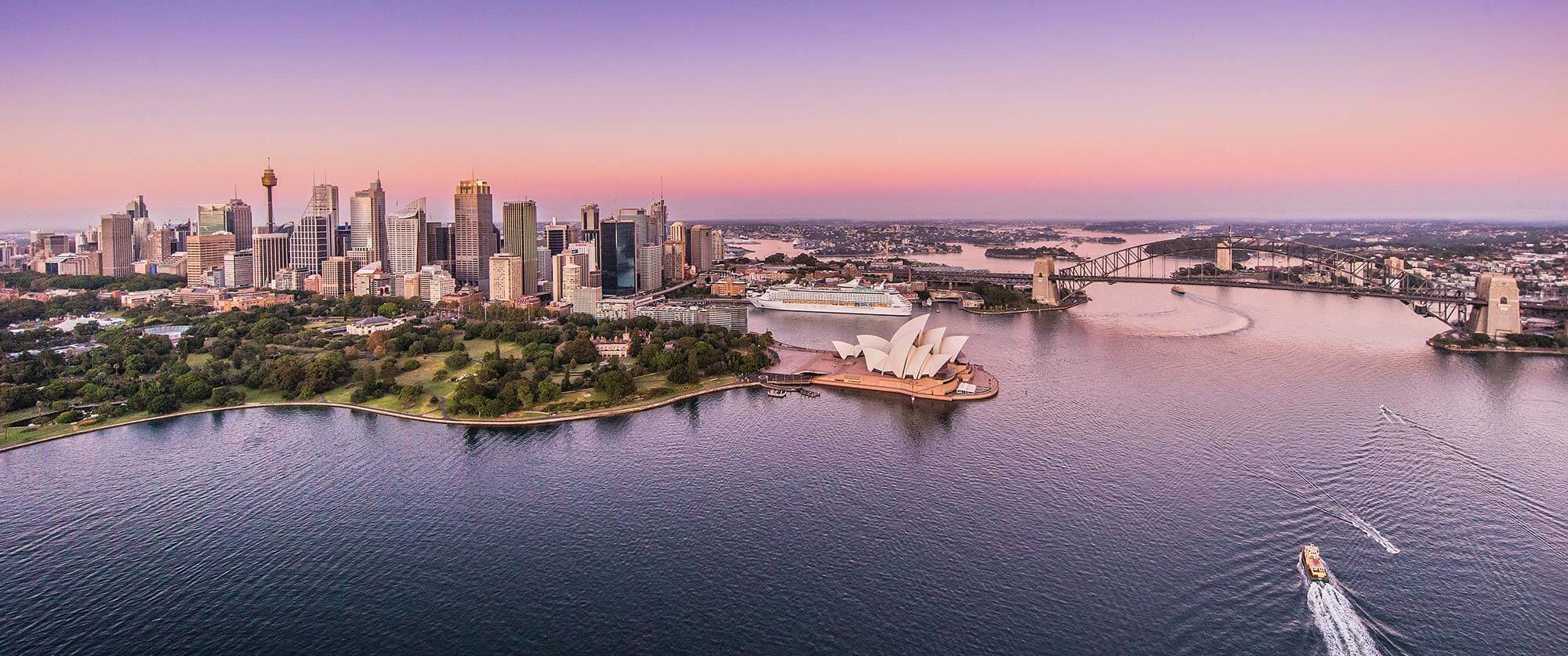 Sydney Skyline at Sunrise - South Pacific Vacations - Best Australia Vacation Packages