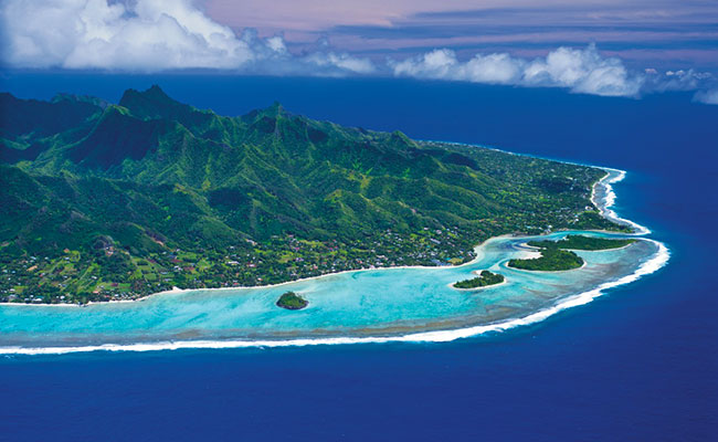 Cook Islands - Book Your Trip - Aerial View of Rarotonga Island and Lagoon