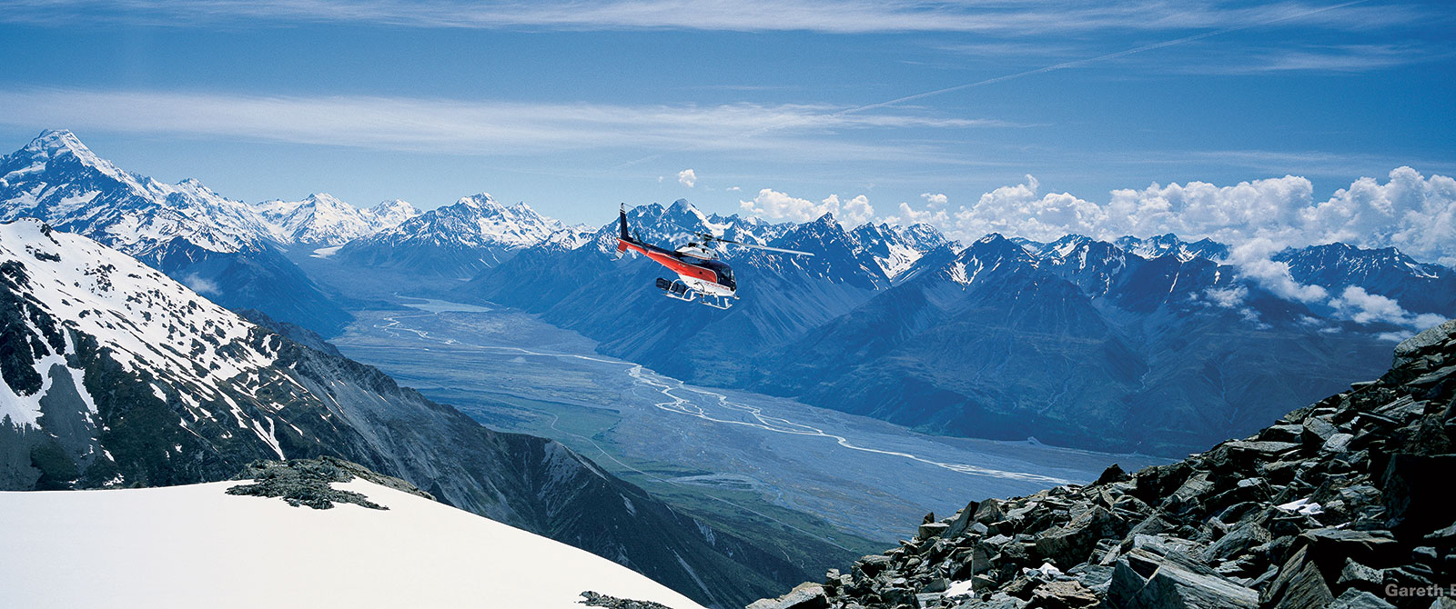 Helicopter Over Mt Cook, New Zealand