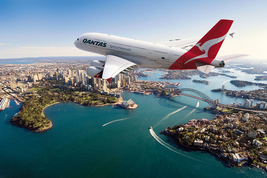 Qantas Plane Over Sydney - Book Your Trip to Australia