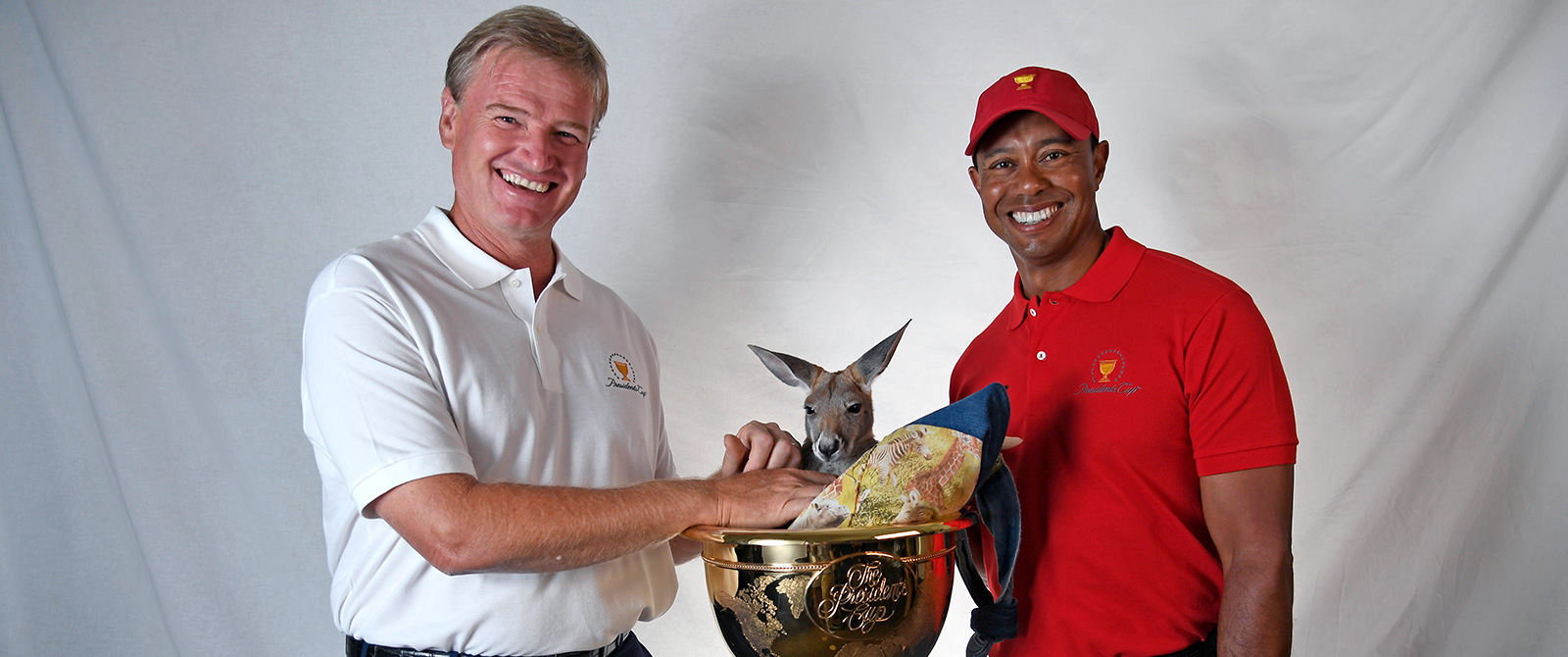 2019 Presidents Cup Official Travel Packages - Team Captains Ernie Els (International Team) and Tiger Woods (US Team)