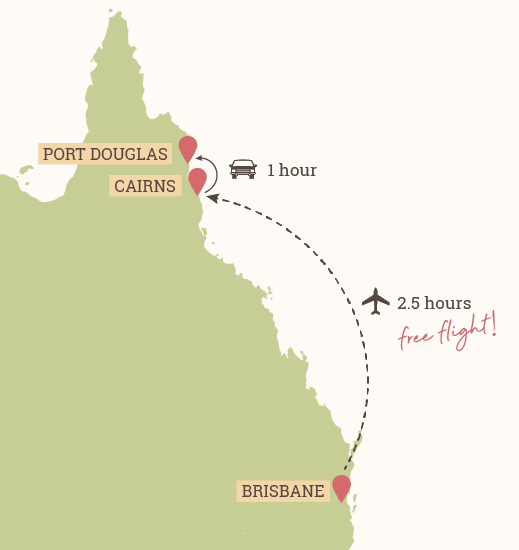 Great Barrier Reef Map - Brisbane to Cairns Flight (2.5 hours) and Cairns to Port Douglas Drive (1 hour)