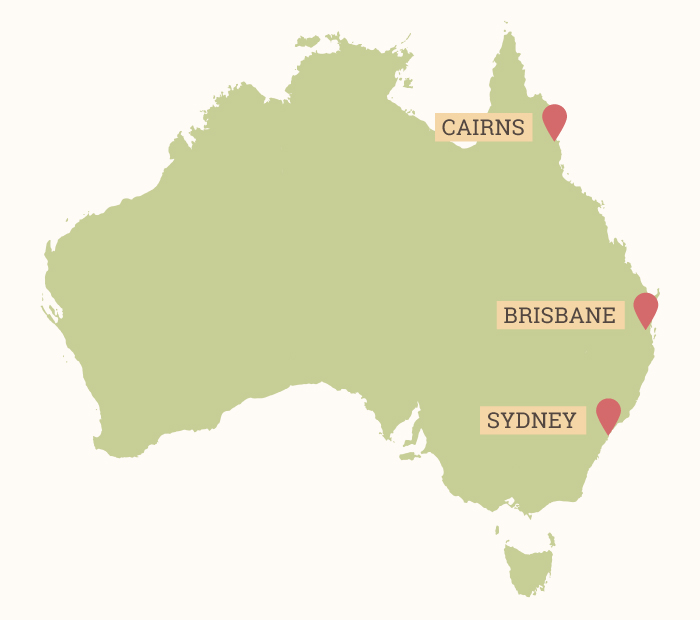 Map of Australia - Brisbane, Cairns, and Sydney