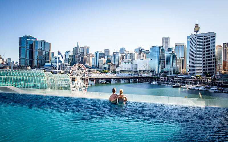 View from the Pool at Sofitel Sydney Darling Harbour