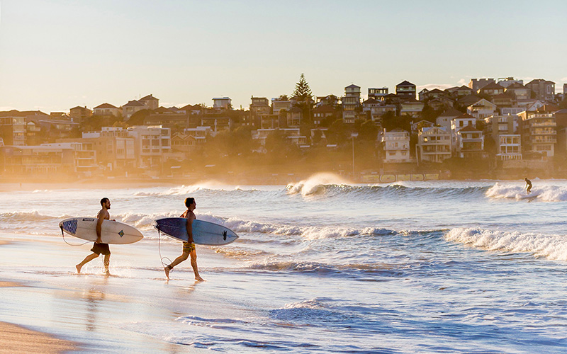 Surfers Hitting the Waves at Bondi Beach, Sydney