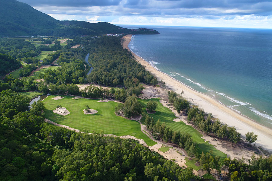 Aerial view of Laguna Lang Co golf course on the Vietnam coast