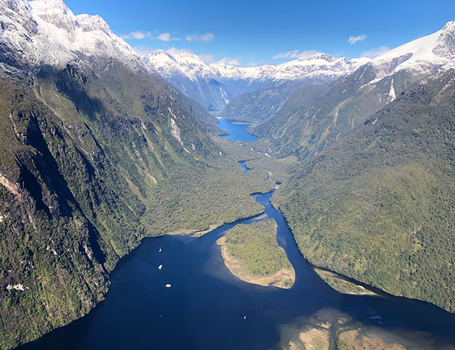 Views of Milford Sound from a Helicopter
